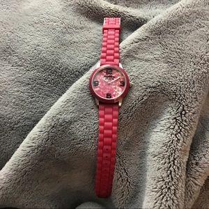 Vera Wang pink leopard watch